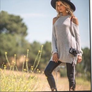 Sweaters - Cold Shoulder Sweater in Light Gray